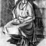 My mother - 1964 - 60x40cm - paper, charcoal