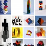 Basic elements and there combinations - 1969-71 - 4x4x4cm and 12x12x4cm - painted wood