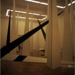Environment for computer programme I. - 1984 - 1800x1090x1100cm - painted steel, mirror, light, sound, film