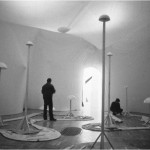 Environment for computer programme III. - 1985 - 1400x900x500cm - textile, light, sound, film