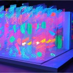 Environment I-II. (Installation) - 1991 - 1200x600x380cm - painted transparent plastic sheets, painted paper forms, UV light