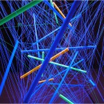 Magic transparency I., The Mystic seventeen-dimensional twin space - 2003 - 3.6x2.7x1.8m - painted PVC tubes, string, UV light