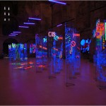 Magic transparency II. , Street - 2001-2003 - 30x6x6m - Painted glasses, stainless steal, sound, UV light