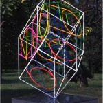 Fragmented forms in a 4D. space - 2000 - 58x30x30cm - Painted stainless steel, granite