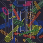 Game of form segments in space - 1998 - 100x100cm - canvas, acrylic