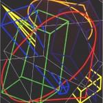 Multi-viewpoint of form segments  - 1998 - 120x120cm - canvas, acrylic