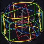Fragmented forms in 4D. cube - 1998 - 120x120cm - canvas, acrylic
