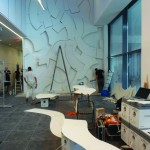 Title: Procedures ( mural work for KPMG Hungary, Budapest) - 2014 - 770x560x30cm - Painted plywood, LED